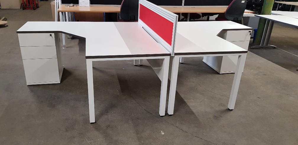 White double second hand preloved used desk with red divider screen