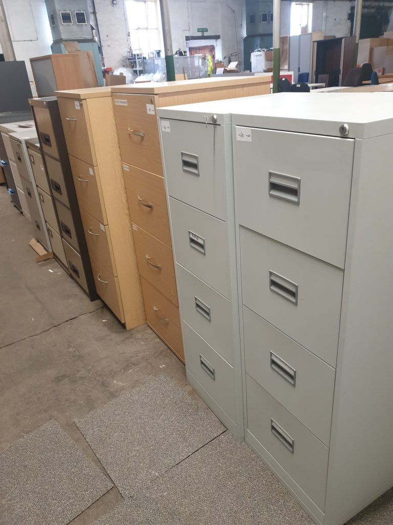 Metal and wood secondhand storage filing cabinets